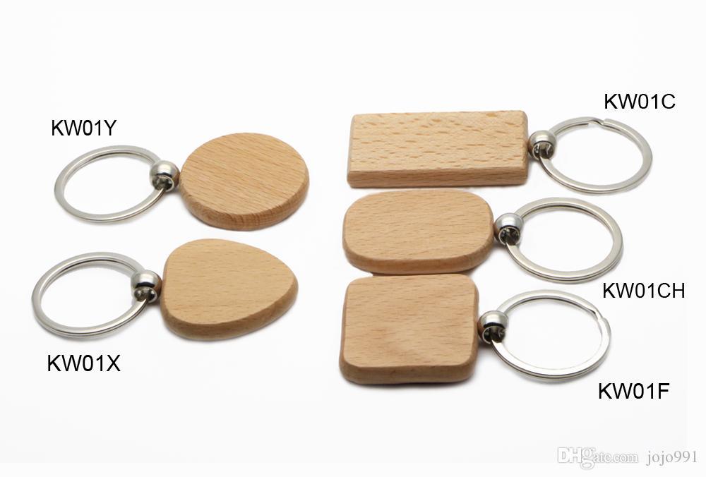 100X 빈 나무 키 체인 서클 1.25 ''열쇠 고리 KW01Y 무료 배송