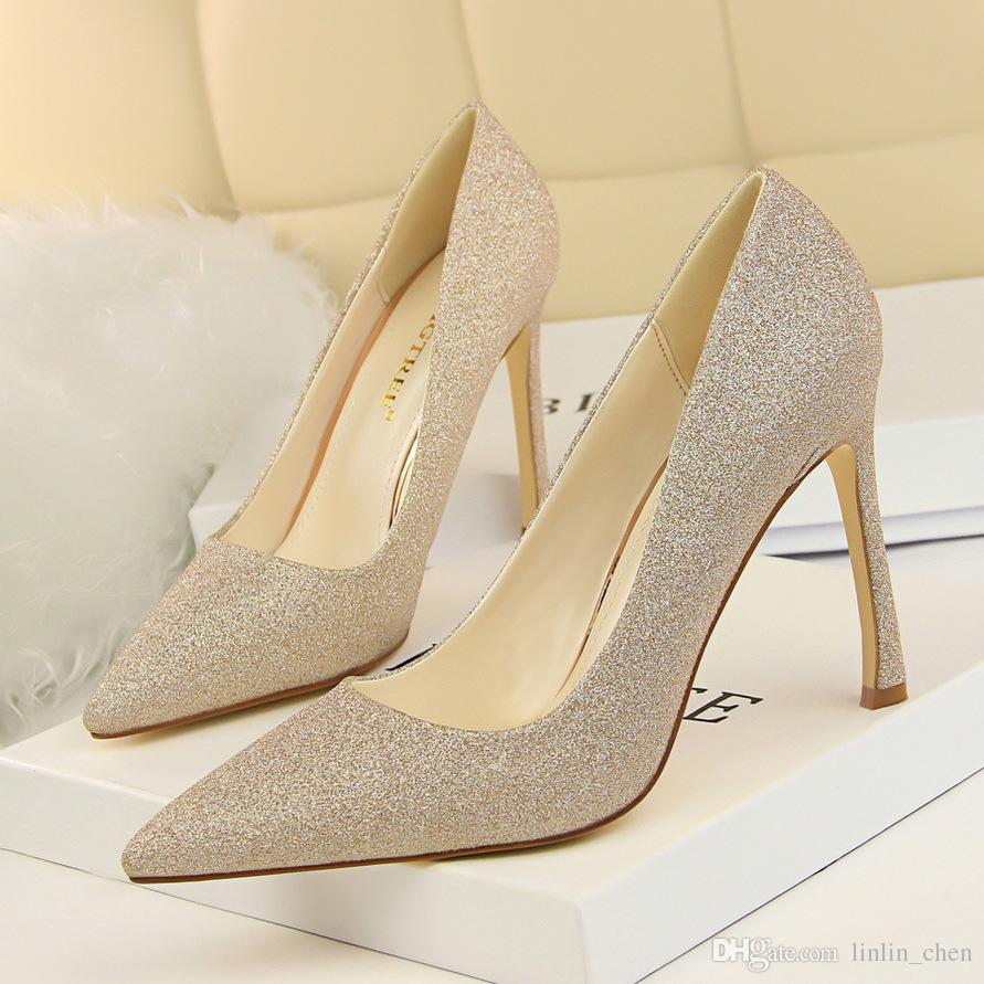 Gold Stiletto Heel Sexy Pumps Women Pointed Toe Sequins Wedding Shoes High  Heels Shoes For Party 6651 1 Womens Shoes Shoes For Women From Linlin chen 15c04516c4d3