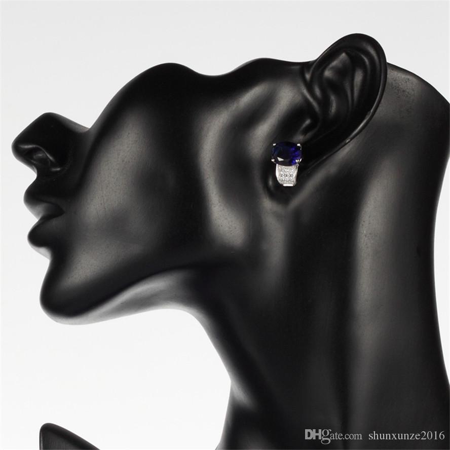925er Sterlingsilber Favorit Ohrringe Promotion S-3705 Dunkelblauer Zirkonia Best Sellers Das neue Produkt Weihnachtsgeschenk begeisterte Kritiken