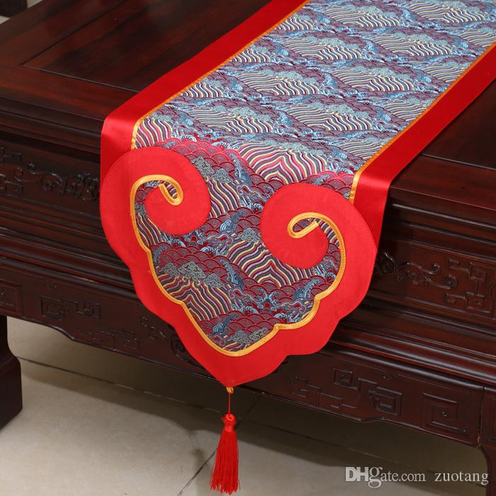 High End Heart Patchwork Table Runner Luxury Fashion Dining Table Mats Chinese style Silk Brocade Tea Table Cloth Home Decoration 200x33 cm