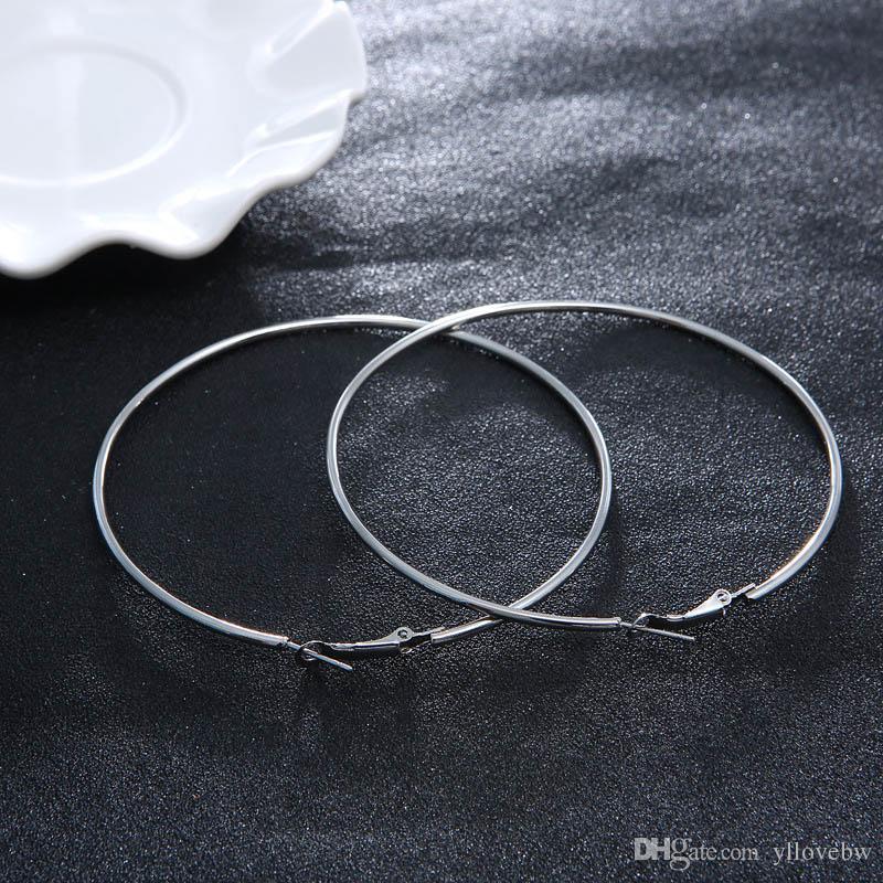 American Trendy Silver Gold Chapado en grandes pendientes de aro para mujeres de alta calidad de joyería geométrica Pendientes de aros