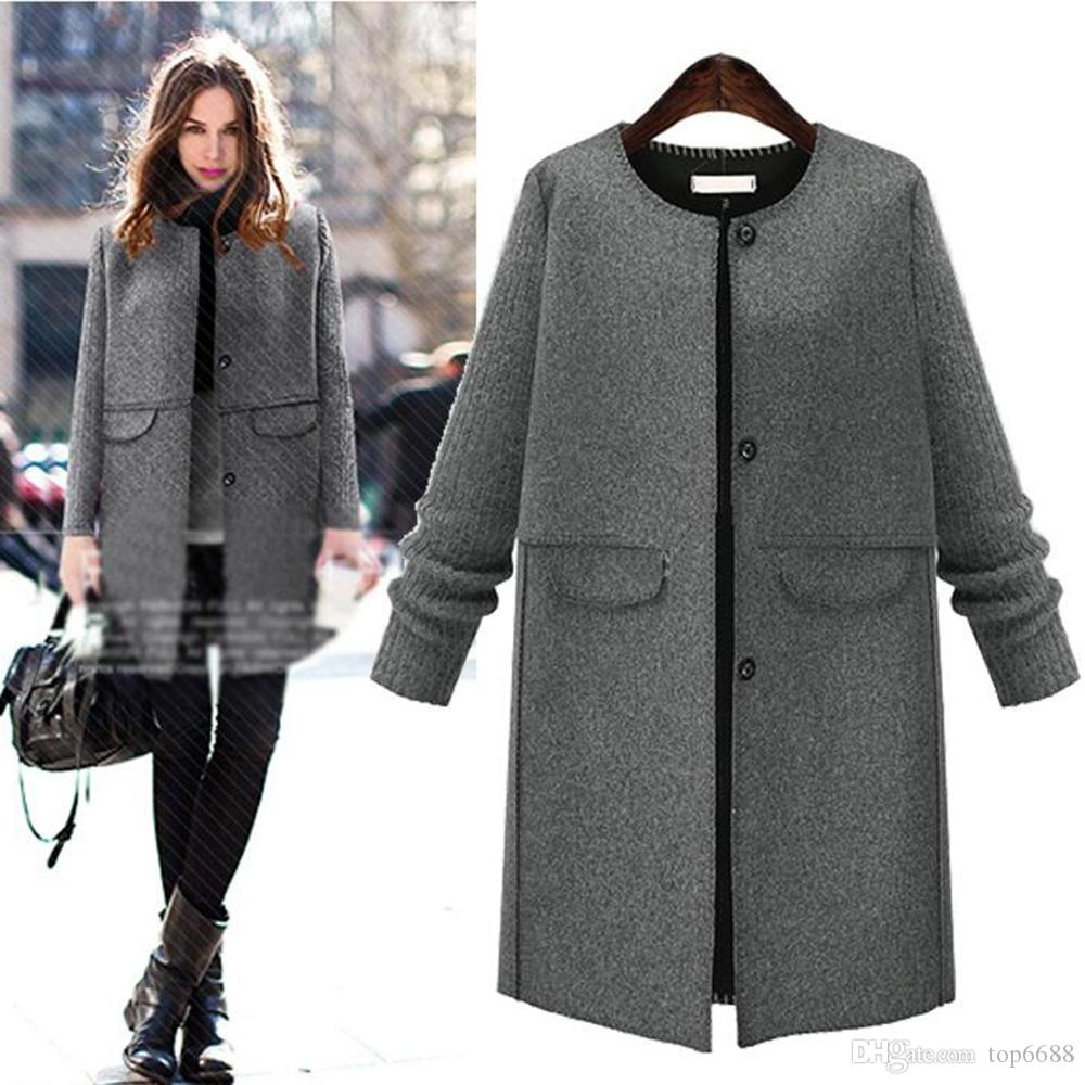 2017 2017 Fashion Womens Autumn Winter Woolen Coats ...