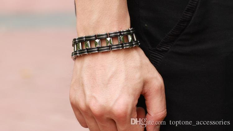 Coolest Men Fashion Stainless Steel Silicon Bracelets Multi Layer Titanium Bracelet High Quality