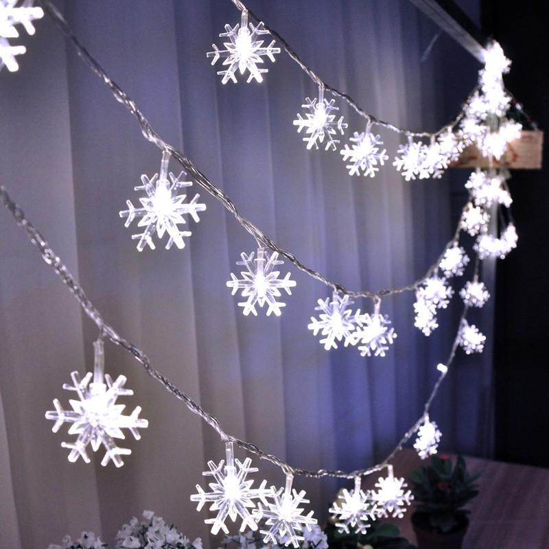2m 20leds Snowflake String Fairy Light Battery Powered White Christmas Decoración del hogar Fiesta de vacaciones Lámpara de luces estrelladas