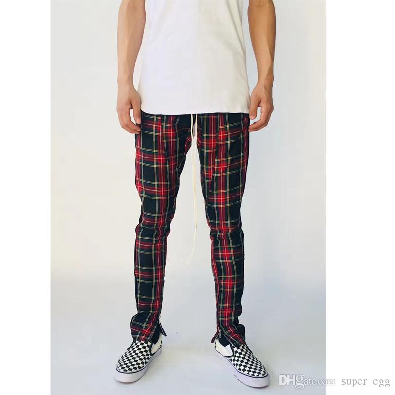 2019 Fog Side Velvet Scottish Plaid Inside Zip Up Slim Fit Trousers
