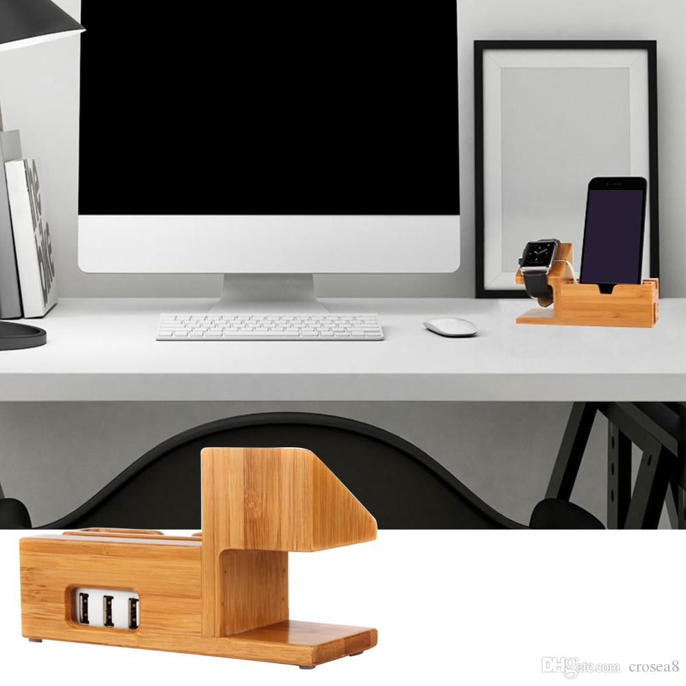 NEW 3-Port USB Charger with Apple Watch Phone Organizer Stand,Cradle Holder,Desktop Bamboo Wood Charging Station for iwatch with box