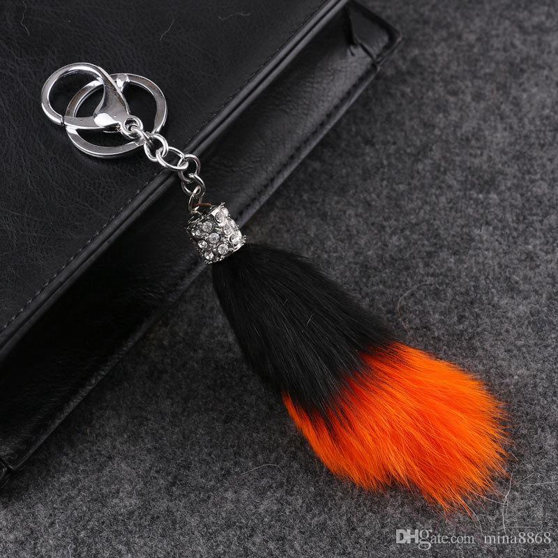 Heißer verkauf Mode Keychain / Fuchspelz Handy Auto Keychain / Handtasche Charme Schlüsselanhänger Ring Pom Poms Haar Beutel Anhänger DHL042