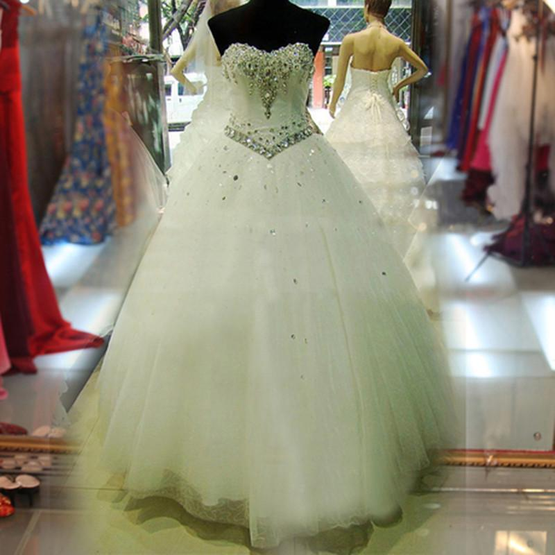 Abiti da sposa in tulle morbido di cristallo con perline di tulle 2019 Abito da sposa romantico con sweetheart in pizzo