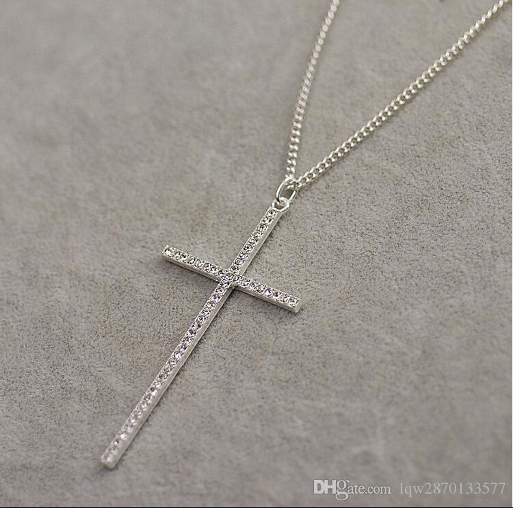 Fashion jewelry accessories silver gold plated new full rhinestone crystal long chain cross pendant necklace for men and women