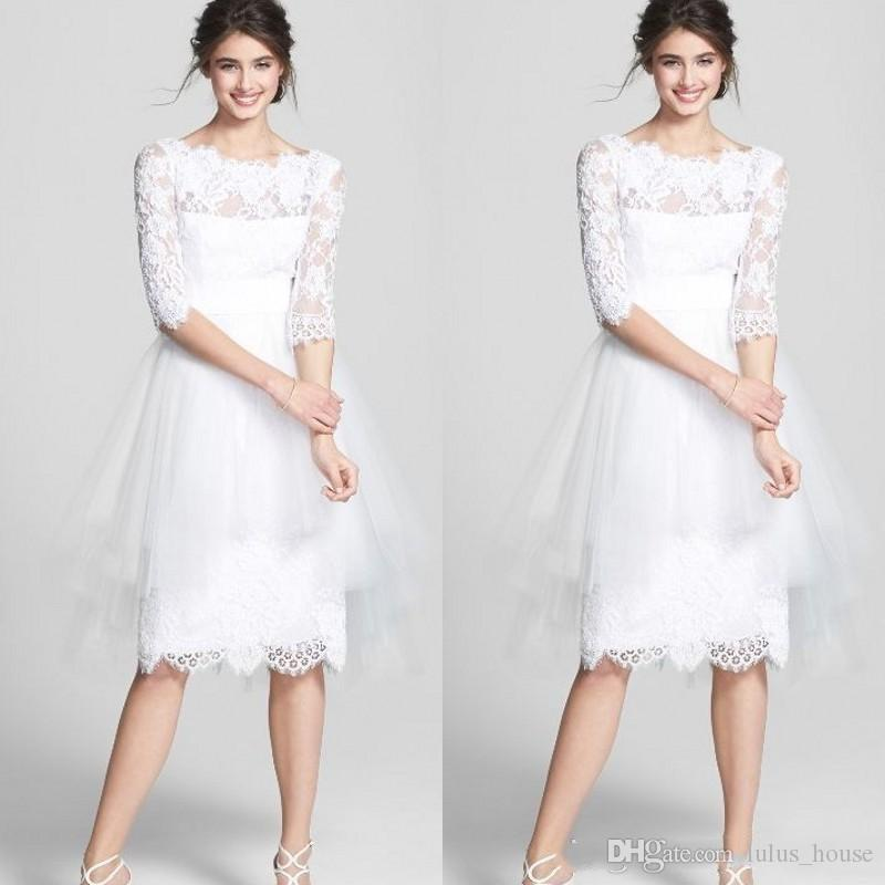 Cheap Wedding Dresses Lulu: Discount 2017 Vintage Short A Line Wedding Dresses Lace