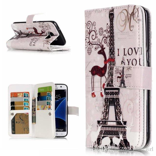 Multifunction Wallet Leather Case 9 Card Pouch Flower Cartoon Leopard TPU Stand Photo Money Snap fastener For LG K7 K10 G4 Stylus LS770 Skin