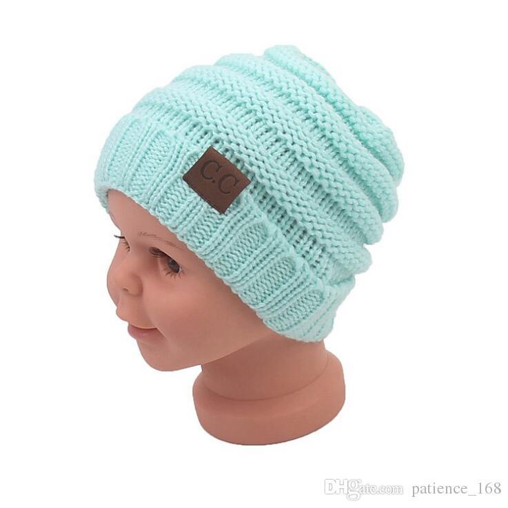 es Nuevas llegadas estilos de Europa y América CC diseño de etiquetado tapas Niños invierno cálido niño niña Sombrero hecho punto envío gratis