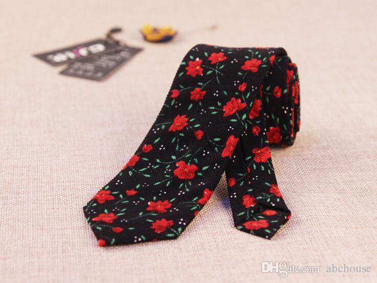 Heißer Verkauf Männer Baumwolle Krawatten Blume Krawatte Männer Casual Solid kintted schmales Design Flat-End Krawatte Krawatten