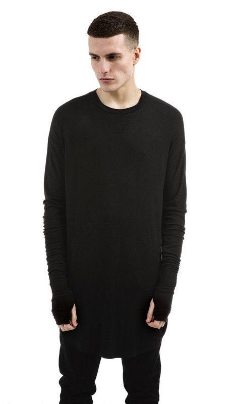 Thumb Hole Cuffs Long Sleeve Tyga Swag Style Man High Low Side Split Hip Hop Top Tee T Shirt Crew T-shirt Men Clothes