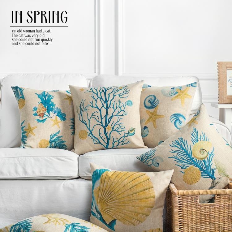45cm mediterranean yellow coral blue shells cotton linen fabric rh dhgate com