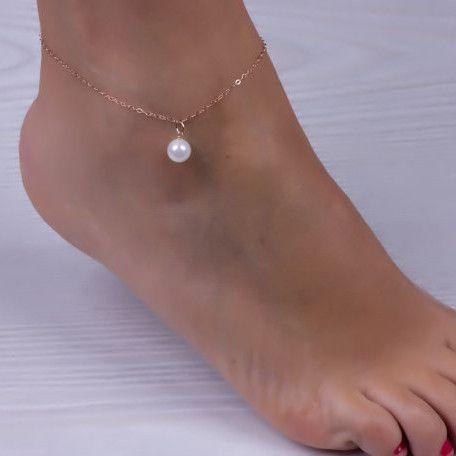 Perla simulada Colgante Pulsera de tobillo Plata Chapado en oro Cadena de eslabones de playa Joyas de pie para mujer Tobilleras Accesorios de pie FE