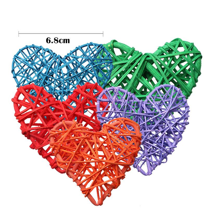 Colorful Heart Rattan Wicker Cane Decoration Balls for Home Garden Patio Wedding Birthday Party decoration