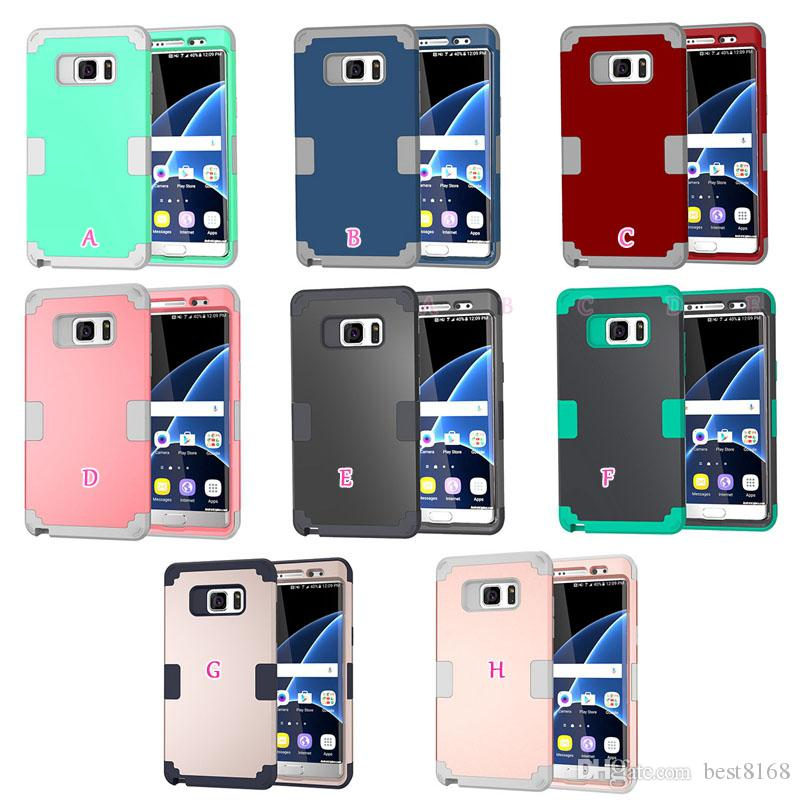 Shockproof Hard 3in1 Front+back Case For Iphone 7/Plus/6 6S/SE 5 5S/Galaxy S8/S7 Hybrid Armor PC+Soft TPU Beetle Layer Security Gel Cover