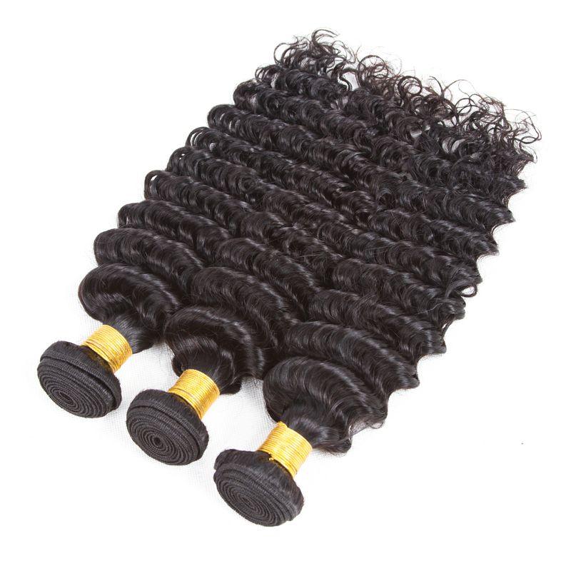 Ushine Peruvian Brazilian Malaysian Chinese Indian Human Hair Extensions 4-5Bundles Deep Water Wave Hair Weave Natural Black Color