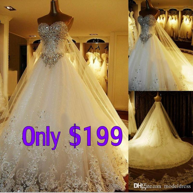 Discount New Luxury Cathedral Wedding Dresses Sweetheart Appliques Crystal Beading Lace Vintage Stunning Bridal Gowns Free Jewelry Set Gift 2018