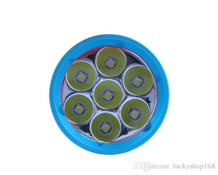 Fabrik Preis !!! Preiswertes DV07 7 * CREE XM-L2 14000Lumens L2 führte Tauchtaschenlampenfackel 200M wasserdichte LED-Blitzlicht-Unterwasserlaterne DHL