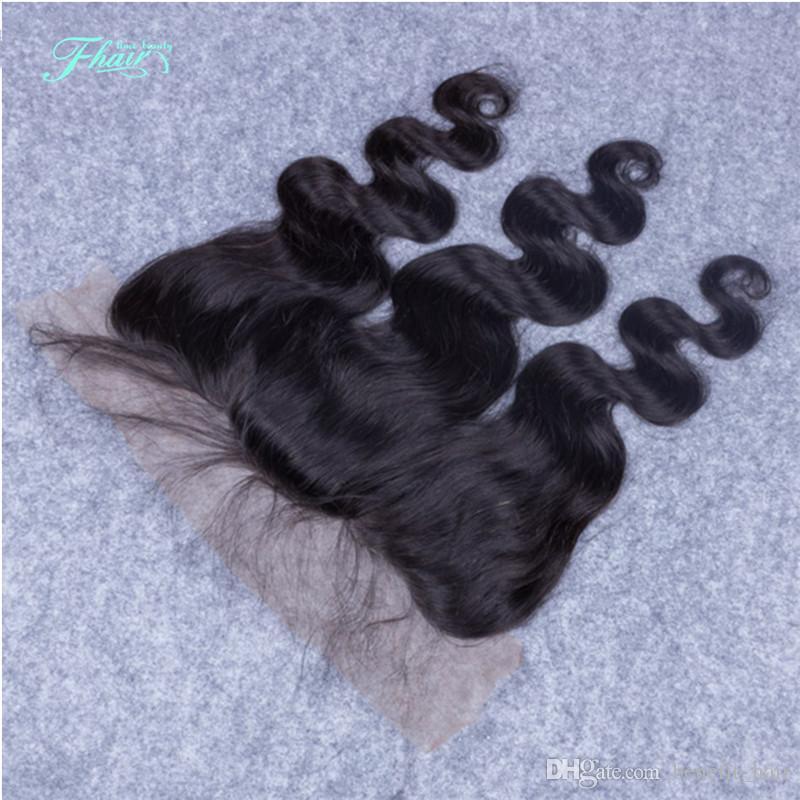 9A Cabello mongol Body Wave Base de seda Parte frontal del cabello Parte libre de encaje Frontal con pelo de bebé 13x4 Cierre frontal de encaje Nudos blanqueados
