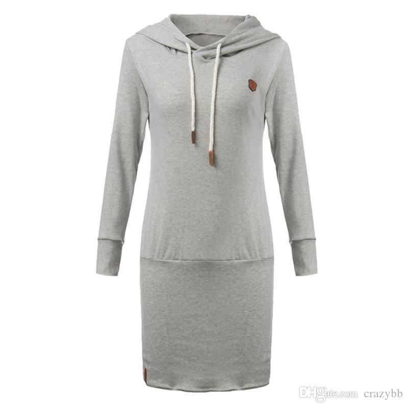 6f4b7894608 Acheter 2016 Femmes Robe Nouveau Style Automne Hiver Sport Manches Longues  Droites Hoodie Dress Casual Longue Sweat À Capuche Solide Vestidos De  21.7  Du ...