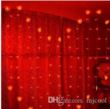 New arrival 2M*1.6M 128LEDs Wedding led lights curtain Heart lamps Fairy Christmas lights festival LED garden dj light party lamps