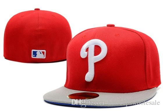 One Piece Phillies Fitted Baseball Hats Red Top Gray Brim Sports Team White Letter  P Flat Full Closed Caps Bones Cheap Men S Women  Flexfit Cap Ny Caps From  ... 611d404fa5b1