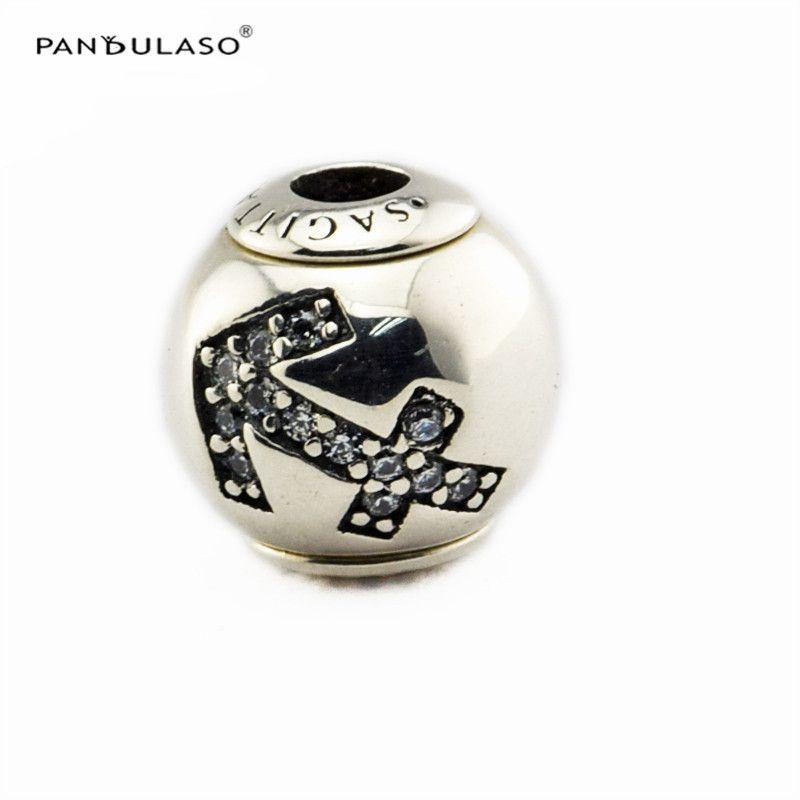 SAGITÁRIO com CZ Charme Essence Collection Serve Para Pulseiras Pandora 2.5mm Buraco Sterling-Silver-jóias Beads Para A Mulher Por Atacado