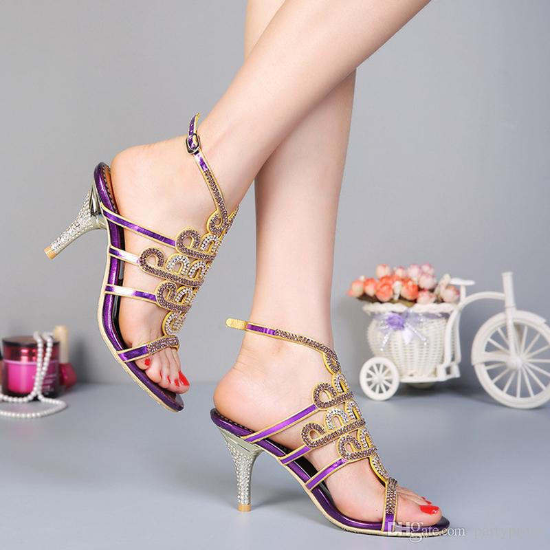 Летние леди сандалии стилет каблук горный хрусталь высокие каблуки модные сандалии хрустальные свадебные туфли Homecoming ну вечеринку туфли на высоком каблуке золотой фиолетовый
