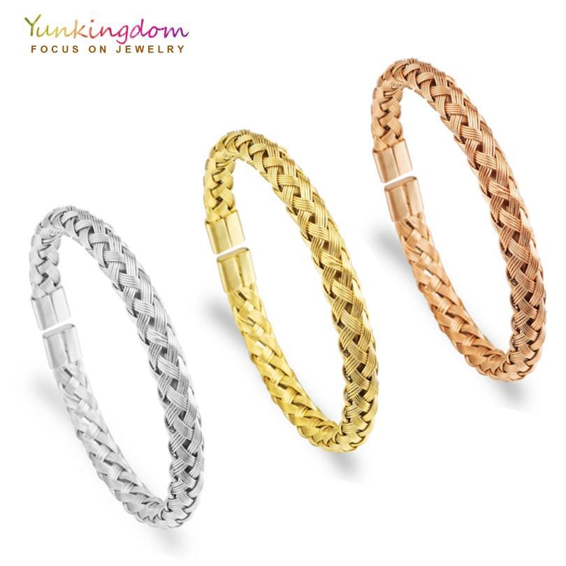 Yunkingdom Stainless Steel Bracelets &Bangles For Women Woven ...