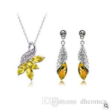 Austrian Crystal Diamond Necklaces and Earrings Set High Quality Silver Plated Necklace and Earrings Woman Crystal Jewelry