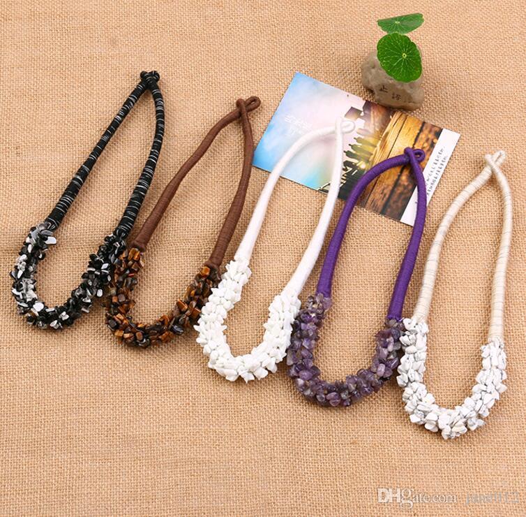 Heißer verkauf böhmischen stil indien schmuck handgefertigt naturstein achat kristall schutt choker kragen halskette in groß großhandel