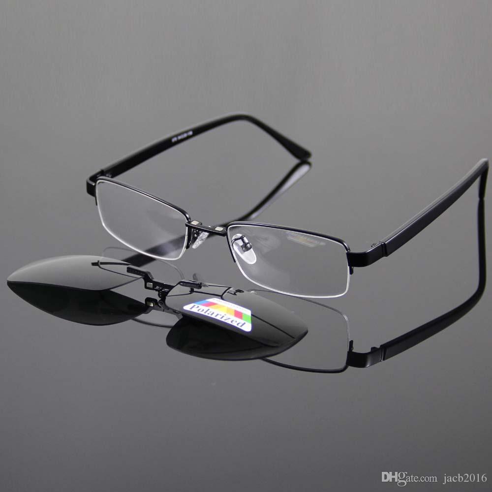 b0d29f0be56cd Compre Óculos De Sol Magnéticos Clip On Óculos Polarizados Sombra Sun  Glasse Prateado Óculos De Armação De Metal Óculos Ponto Para Ler Condução  570 De ...