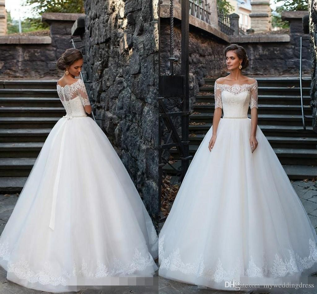 Discount 2016 Vintage Plus Size Ball Gowns Lace Wedding