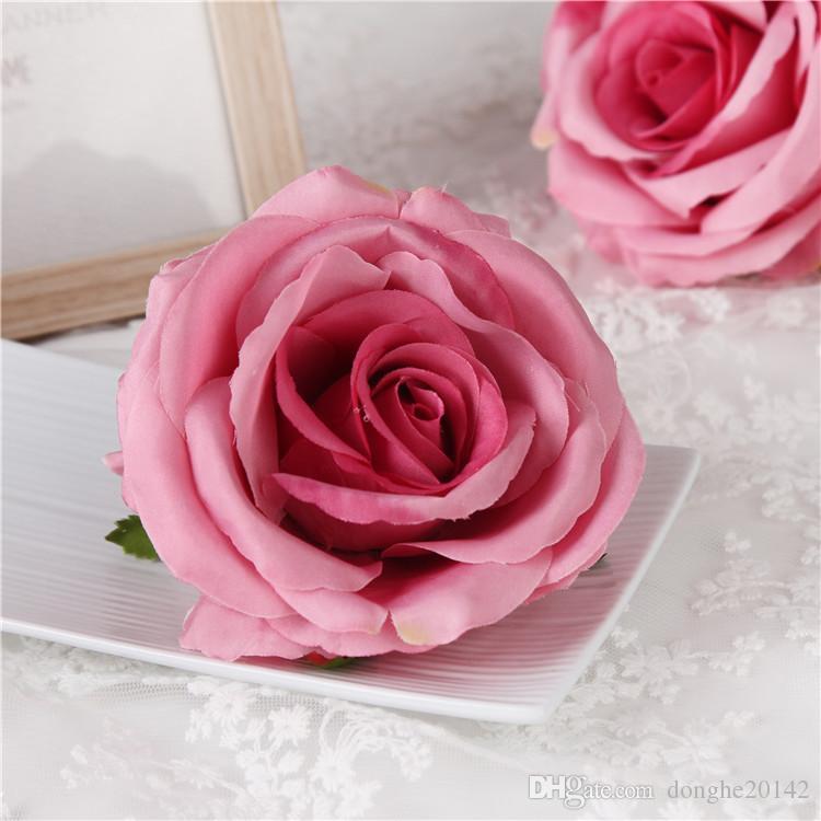 20 Stücke 9 CM Künstliche Rose Flower Heads Silk Dekorative Blume Party Dekoration Hochzeit Wand Blumenstrauß Weiß Künstliche Rosen Bouquet