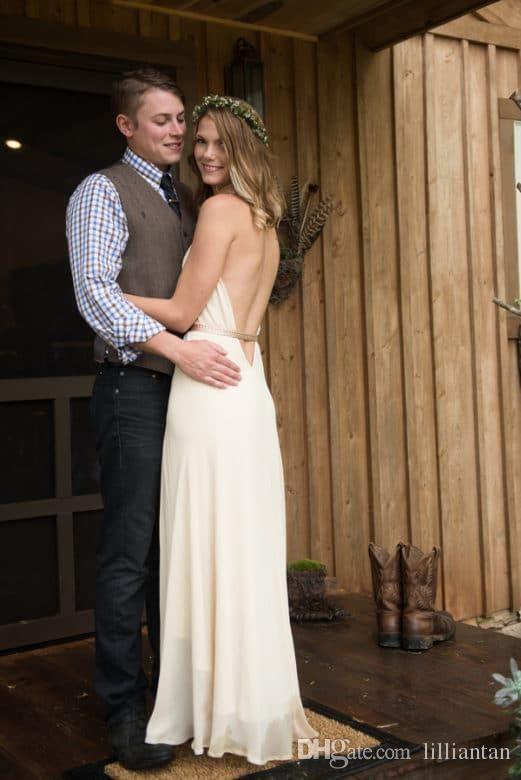 Einfache rückenfreie Chiffon Brautkleider mit V-Ausschnitt High Low Country Brautkleider Sexy Open Back Sash Halter Tiered böhmischen Brautkleid