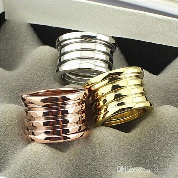 Moda de ancho de titanio de acero inoxidable elástico multicapa 5 capas anillos, mujeres / hombres de oro amarillo / oro rosa / plata metal colores joyería