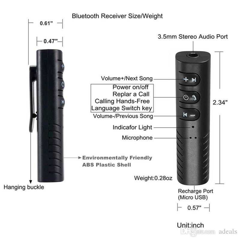 Bluetooth Alıcısı Araba Aux Ses Adaptörü Mini Kablosuz Eller-Serbest Araba Müzik Kiti Ev Araba Stereo Sistemi için Kablolu Kulaklıklar