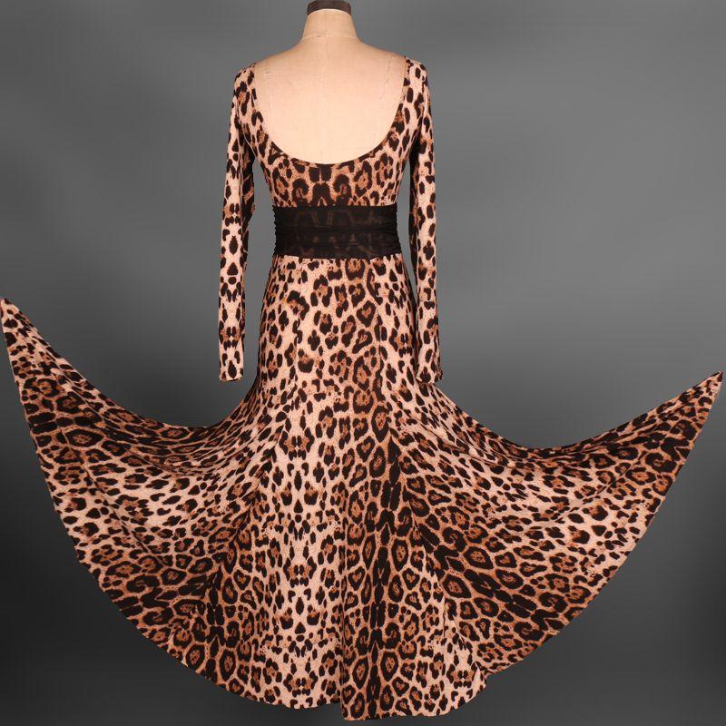 2019 Ballroom Competition Dance Dress Lady Dancewear Leopard Ballroom Standard Dance Women Viennese Waltz Dress Dancewear Dance Dress