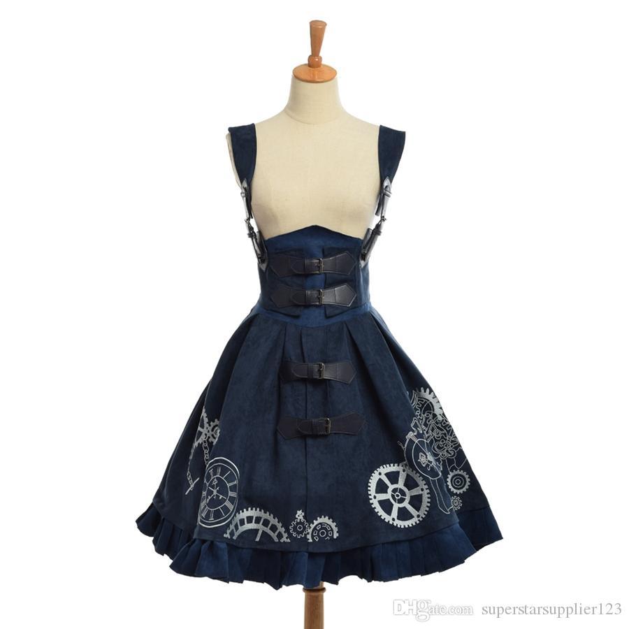Elegante Gótico SteampunK Lolita JSK Vestido Vintage Azul Marrom Mulheres Embroideried Espartilho Vestidos de Alta Qualidade Novo