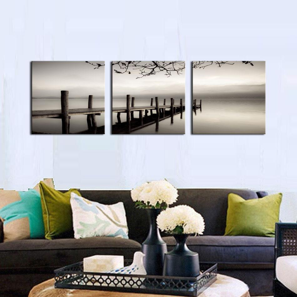 3 Picture Combination Modern Canvas Painting Wooden Bridge Picture Prints Wall Art For Home Decoration With Wooden Framed