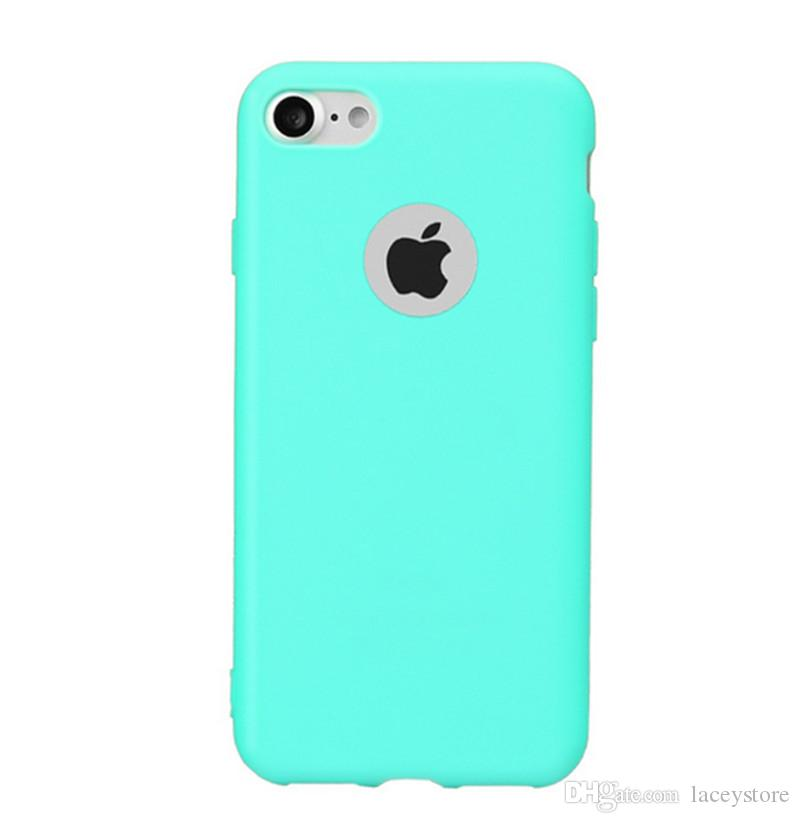 Cheap wholesale high quality candy color silicone tpu case side button protection back cover case for iPhone 7 plus 6s plus