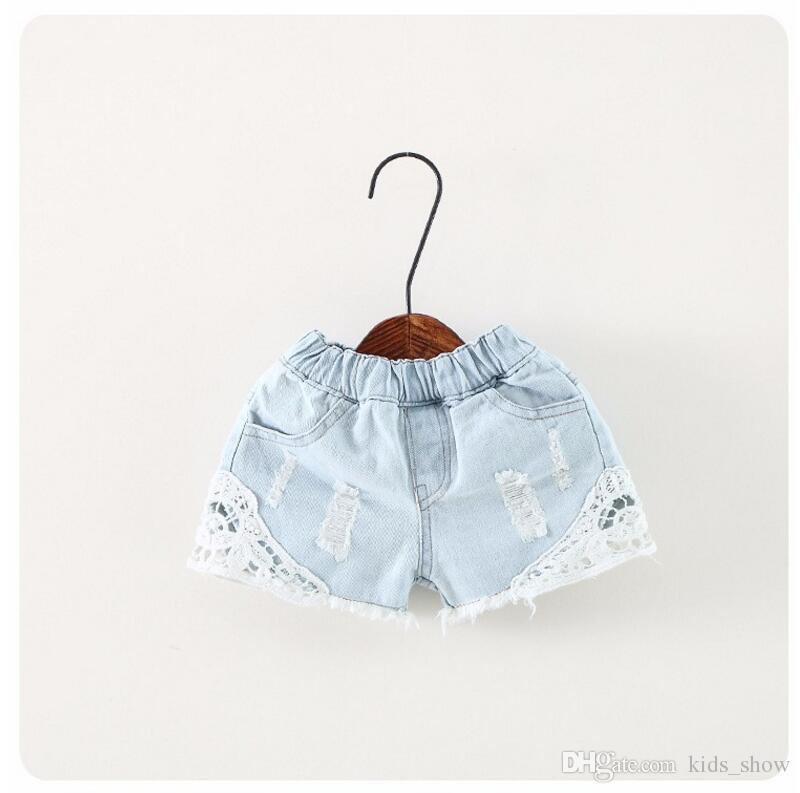 Crianças de verão Shorts Jeans Menina Coreana Calções de Renda Kid's Jeans Calças Quentes 90-130 Tamanho 5 pçs / lote Fábrica Venda Criança roupas onda