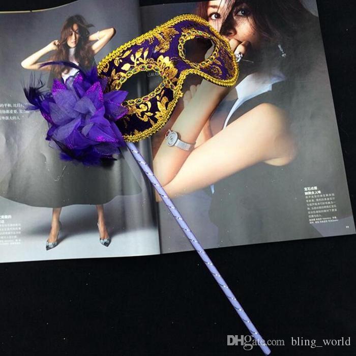 Venedik Yarım yüz Yanal Çiçek Maske Cadılar Bayramı Masquerade Maske Sopa üzerinde Seksi Noel Kadınlar Düğün Parti Maskesi YW156