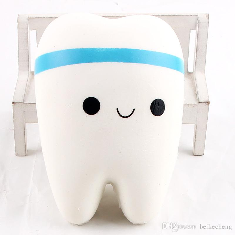Wholesale 10.5cm Novelty Jumbo Squishy Tooth Slow Rising Kawaii Soft Squishies Squeeze Cute Cell Phone Strap Toys Kids Baby Gift