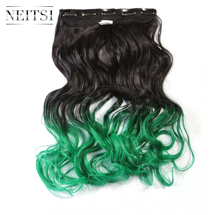 Neitsi 22 55cm 120gpc Green Ombre Color Synthetic Clip In Hair