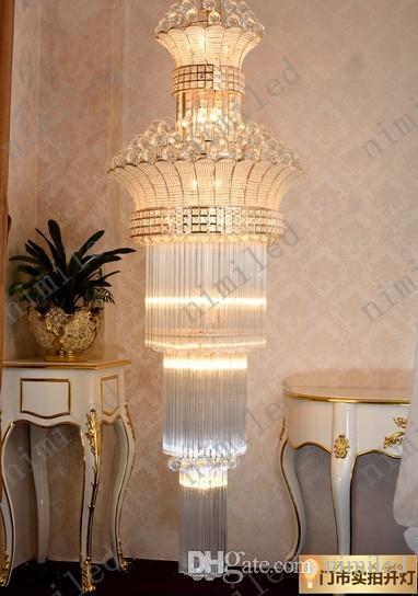 Nimi650 Dia 55/70/80/100 cm Escalera dúplex Lámpara de araña Luces de sala de estar Villa Colgante Cristal Iluminación Hall Hotel Proyecto Droplight