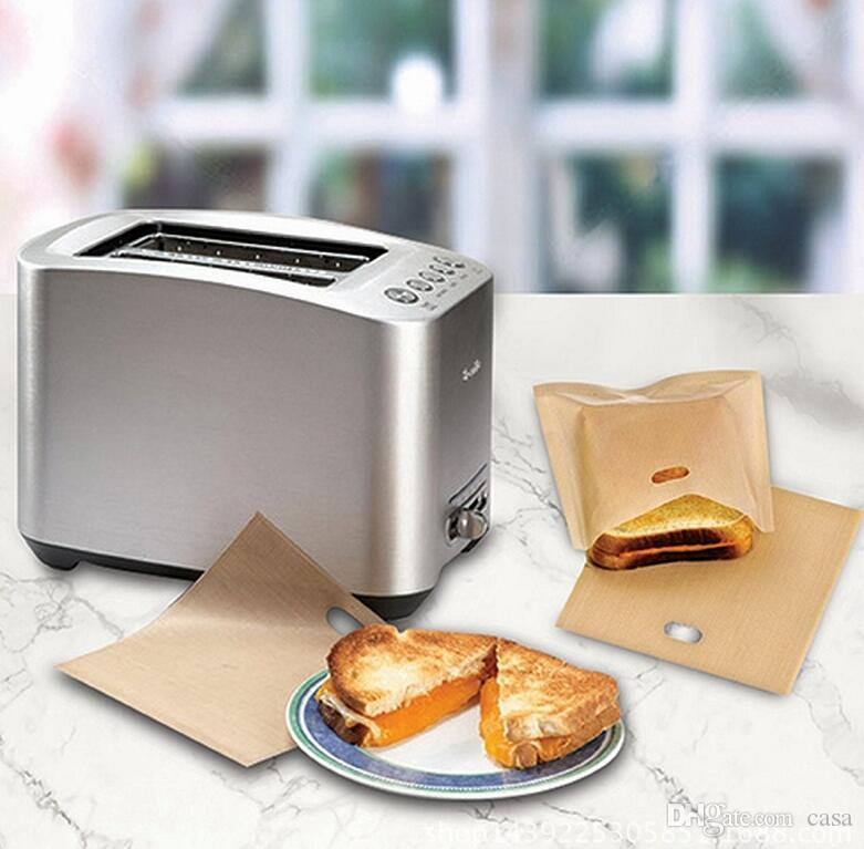 PTFE Sandwich Toasters bread cake Bag reusable non stick baking bag barbecue microwave oven Fries Heating bag BBQ bags 16*16.5cm